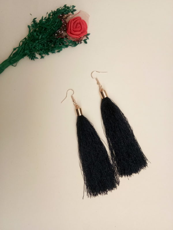 buy handmade black thread long tassel earrings for women bohemian style dangle earrings with golden cap and ear hooks 99shopmart 99SWET01_01