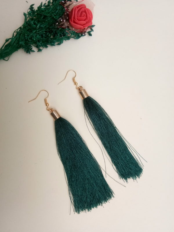 buy handmade green thread long tassel earrings for women bohemian style dangle earrings with golden cap and ear hooks 99shopmart 99SWET01_12