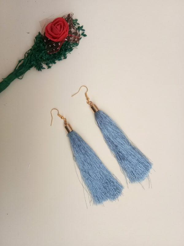 buy handmade grey colour thread long tassel earrings for women bohemian style dangle earrings with golden cap and ear hooks 99shopmart 99SWET01_08