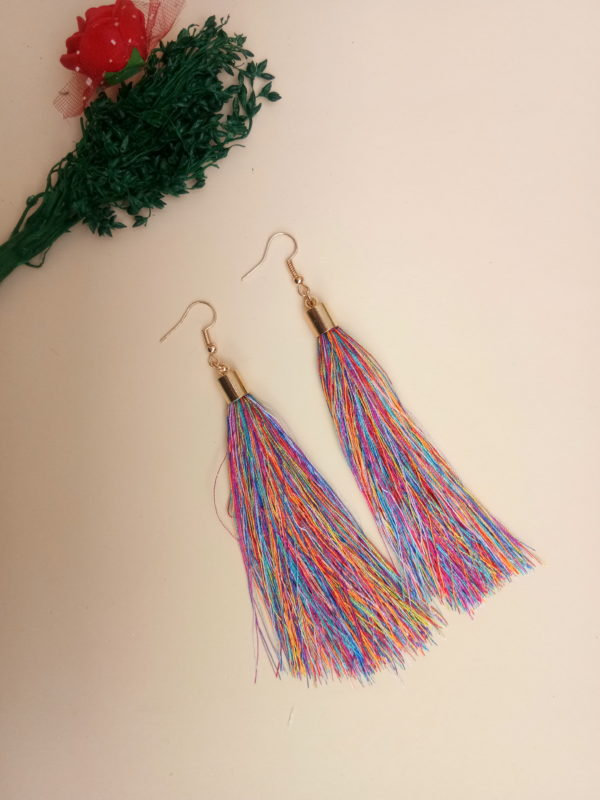 buy handmade multicolour thread long tassel earrings for women bohemian style dangle earrings with golden cap and ear hooks 99shopmart 99SWET01_09