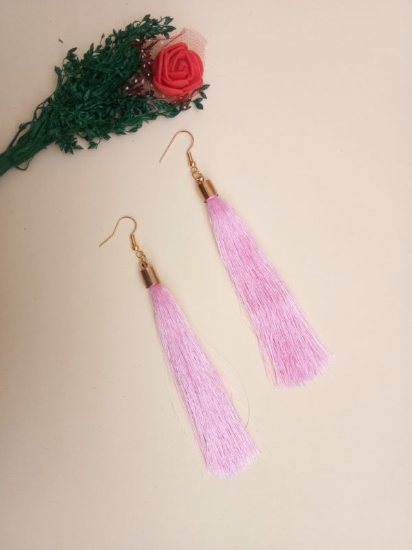buy handmade pink colour thread long tassel earrings for women bohemian style dangle earrings with golden cap and ear hooks 99shopmart 99SWET01_05