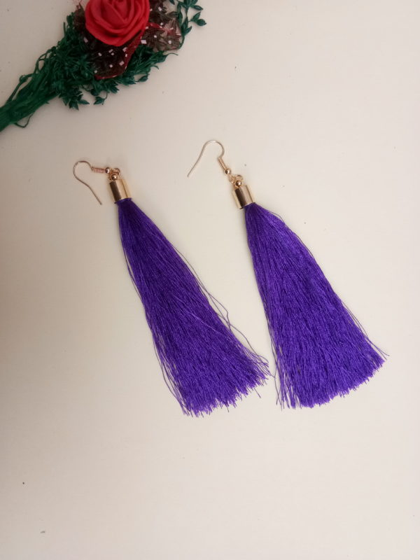 buy handmade purple colour thread long tassel earrings for women bohemian style dangle earrings with golden cap and ear hooks 99shopmart 99SWET01_02