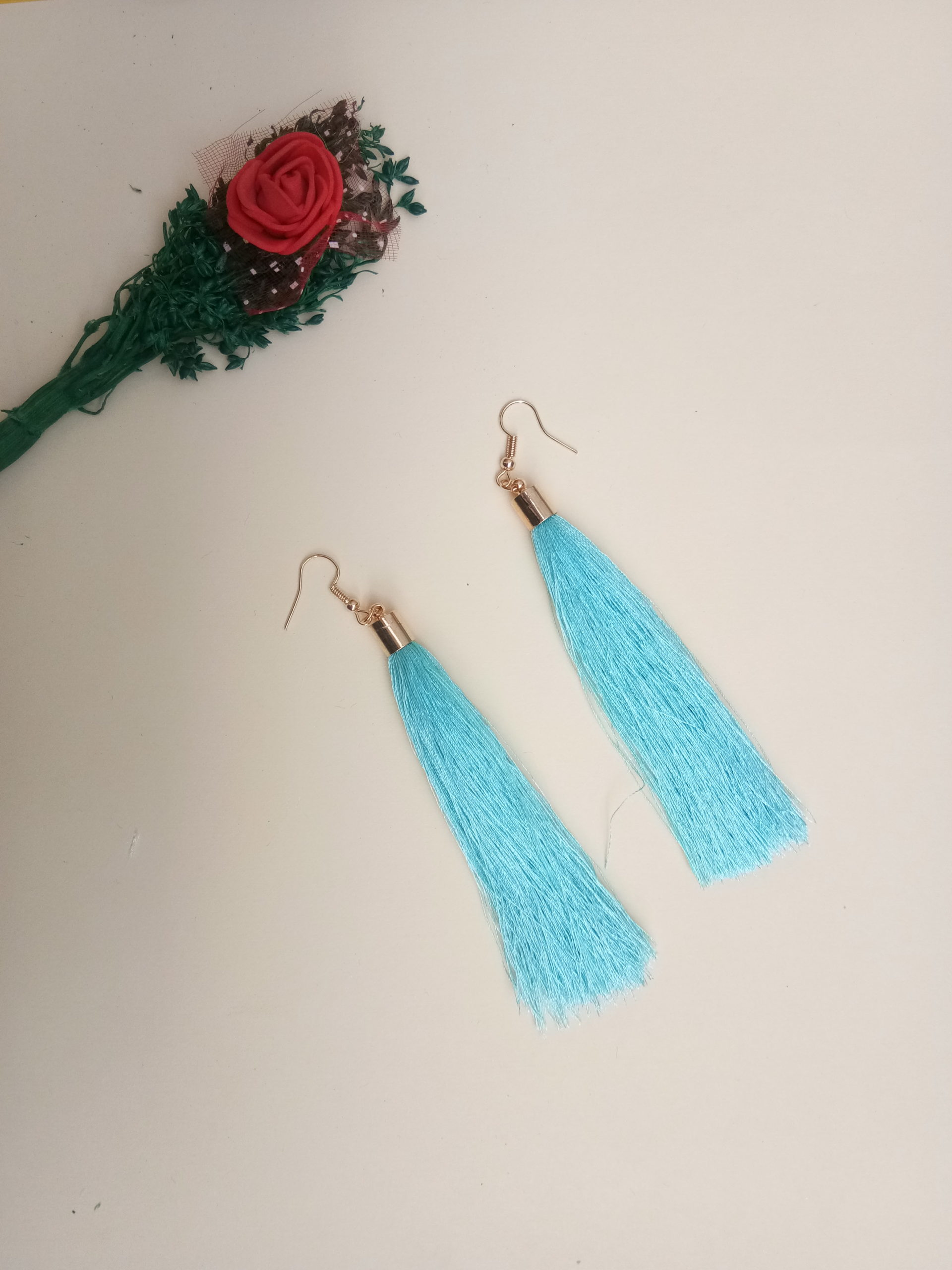 buy handmade turquoise colour thread long tassel earrings for women bohemian style dangle earrings with golden cap and ear hooks 99shopmart 99SWET01_04