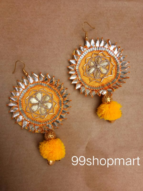 buy gota patti yellow fabric earrings small golden tube decoration yellow pompom and golden ball bead and golden ghungroo 99shopmart 99SWEG01_01