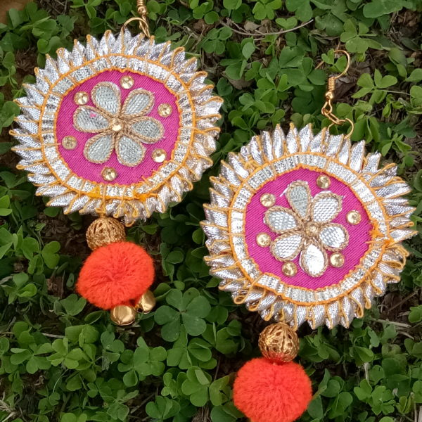 buy pink gota patti fabric earrings with pompom and golden ball bead and golden ghungroo 99shopmart 99SWEG01_02