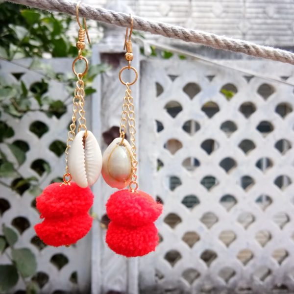red-pompom-golden-chain-shell-long-drop-earrings-99shopmart