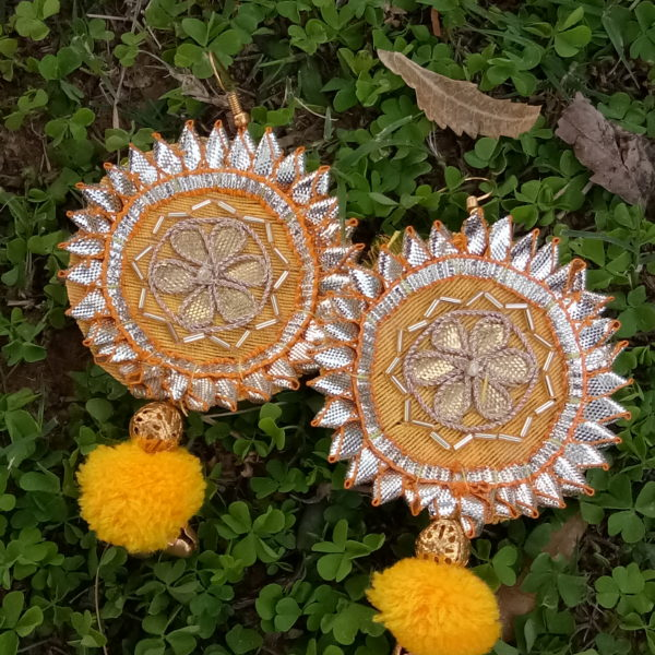 buy gota patti earrings with yellow fabric and yellow pompom and golden ball bead and golden ghungroo 99shopmart 99SWEG01_01