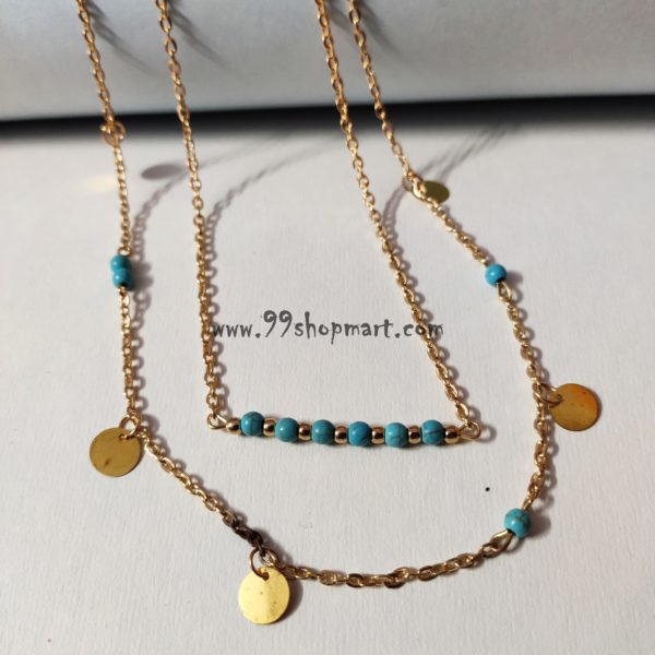 buy 2 layered golden dainty chain necklace minimalist jewelry with turquoise beads in bar and mutilple golden round disc charms online shopping 99shopmart 99SMWNP02_03