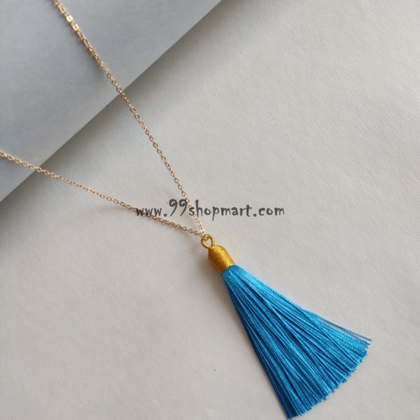 buy boho style shiny blue silk thread tassel fringe pendant with shiny golden tone cap long golden chain necklace for women girls 99shopmart 99SWNP04