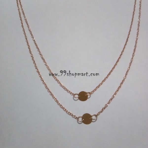 buy dainty golden charm round discs two layered golden chain necklace 99shopmart 99SMWNP02_02