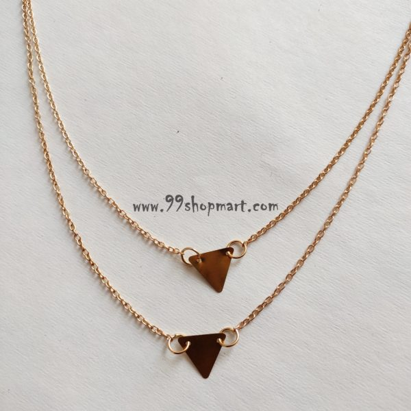 buy classic geometric 2 golden triangle shape pendant double layer delicate chain necklace women fashion jewellery 99shopmart 99SWNP02_04