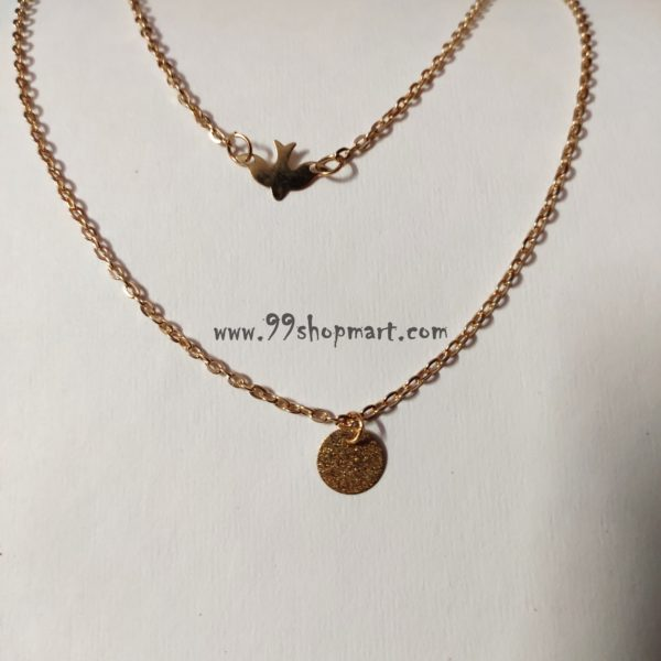 buy minimalist double layer golden chain necklace with flying dove bird pendant and shiny round disc pendant necklace-99shopmart-99SWNP02_1