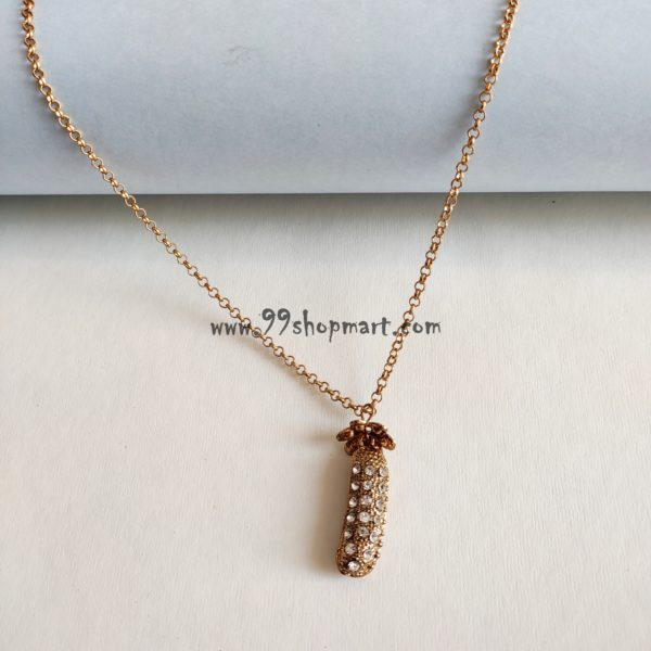 buy crystal pearl pea pendant with imitation white pearl and shining stones on outside sweater golden long chain single layer necklace 99shopmart 99SWNP01_08