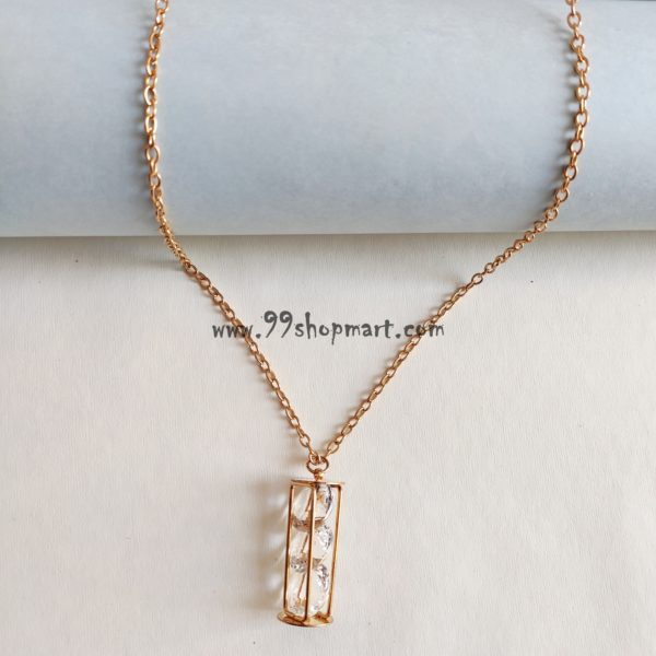 buy golden hollow out cylinder tube cage pendant locket with crystal stones with golden long chain necklace women fashion 99shopmart 99SWNP01_11