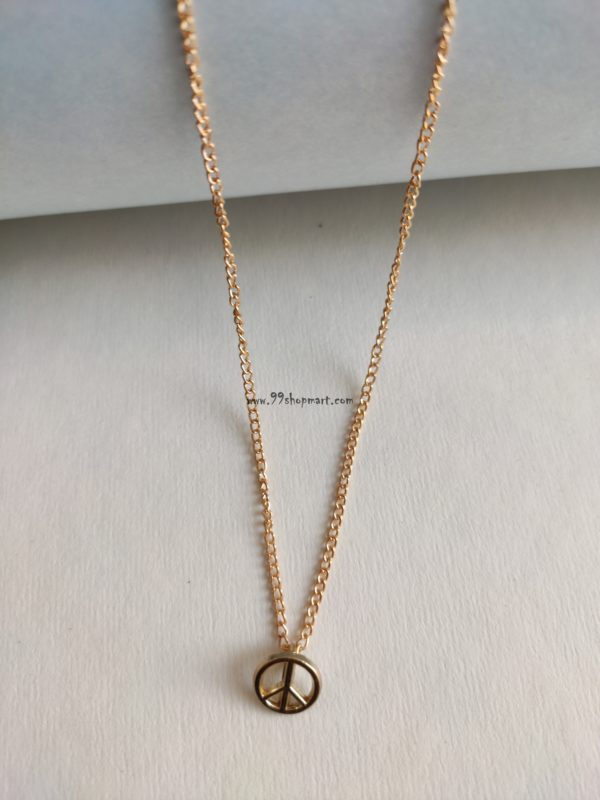 buy golden peace symbol unity charm pendant golden chain delicate and dainty necklace fashion jewellery for women online 99shopmart 99SMWNP01_05