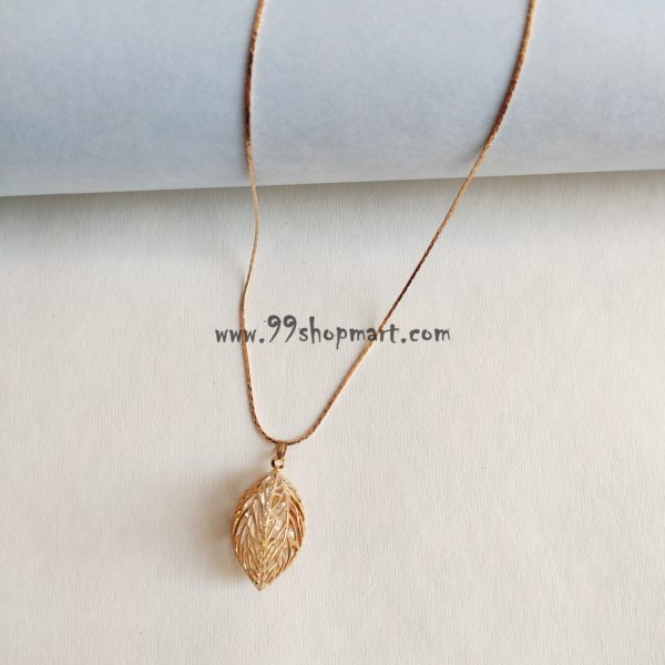 buy hollowed 3D leaf pendant golden colour with white crystals golden chain fashion necklace for women girls fashion jewelry 99shopmart 99SWNP01_10