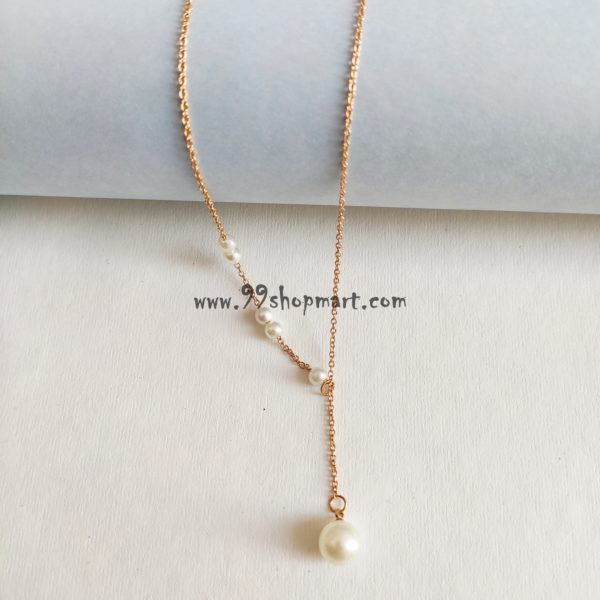 buy imitation pearl Y drop style lariat golden chain necklace for women dainty delicate necklace for women girls 99shopmart 99SMWNP01_06