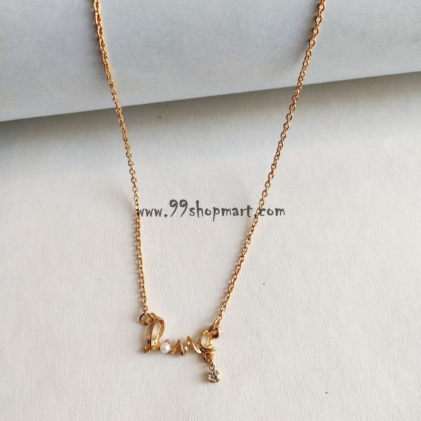 buy love written golden pendant with pearl and shining stone in golden chain dainty necklace for women fashion jewellery 99shopmart 99SMWNP01_04