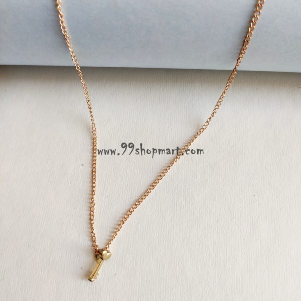 buy micro size tiny love heart key pendant with delicate golden chain women fashion jewelry necklace 99shopmart 99SWNP01_09