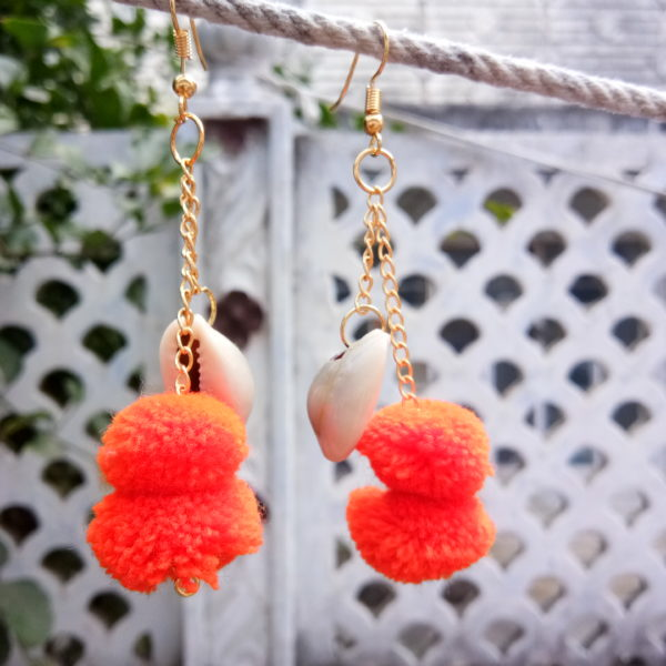 orange pompom shell chain long drop earrings