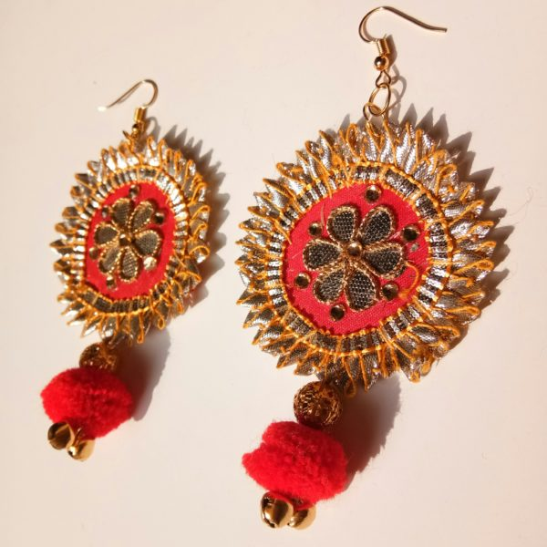 buy red gota patti fabric earrings with red pompom and golden ball bead and golden ghungroo 99shopmart 99SWEG01_03