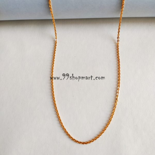 buy golden colour artificial chain necklace for women men online designer short neck chain 99shopmart 99SWNCH01_01