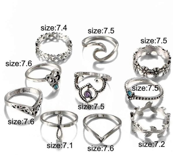 Buy 10 pieces set boho rings silver colour with different designs om flower lef retro knuckle fashion rings online 99shopmart 99SWR04_02