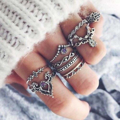 Buy 10 pieces set women knuckle vintage boho rings silver colour online at best prices 99shopmart 99SWR04_01