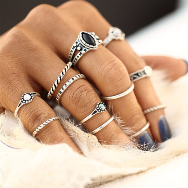 buy 12 pcs knuckle rings set silver colour vintage ring for women online 99shopmart 99SWR03_01