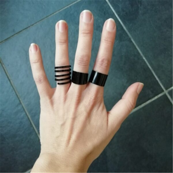 Buy 3 pieces/set black colour band knuckle rings for women casual wear midi open rings online 99shopmart 99SWR06_02