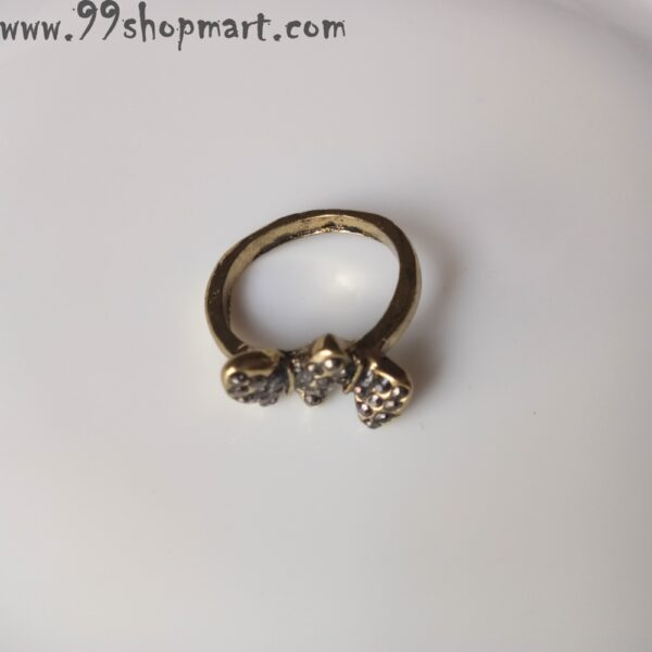 Buy 3D butterffly golden colour ring for women antique design studded with black cubic zirconia stones online 99shopmart 99SWR12_09