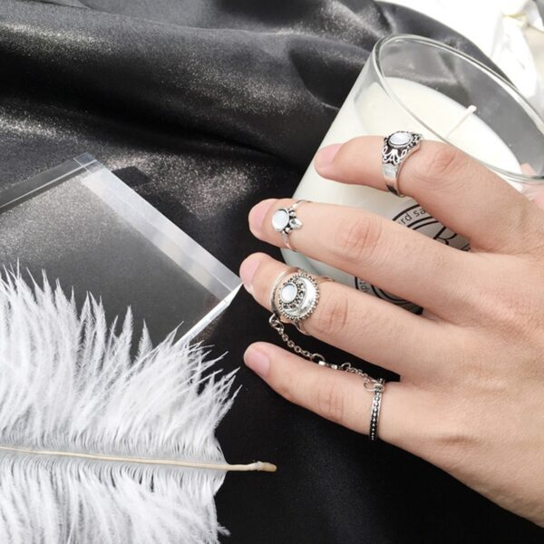 Buy 4 pieces knuckle ring set for women girls silver colour boho beach fashion rings with moon design chin links and other online 99shopmart 99SWR07_01
