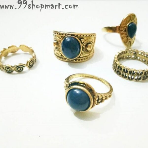 Buy 5pcs/set golden colour vintage boho beach midi knuckle rings for women girls online sale 99shopmart 99SWR02_01