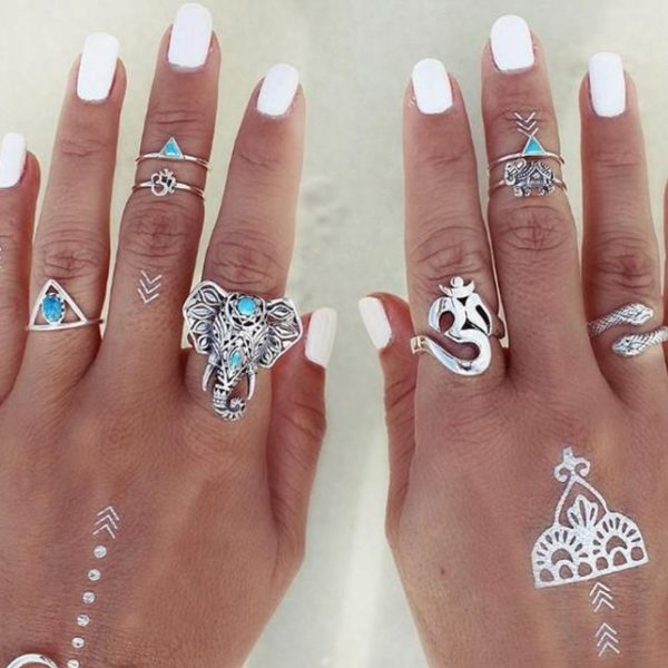 Buy 8 pieces boho rings set silver colour ganesha snake triangle om elephant knuckle rings for women online 99shopmart 99SWR05_02
