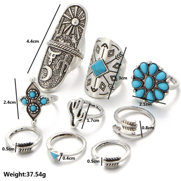 Buy 9 pieces boho ring set for women silver colour vintage fashion knuckle ring with blue turquoise beads flower hand design and more online 99shopmart 99SWR10_01