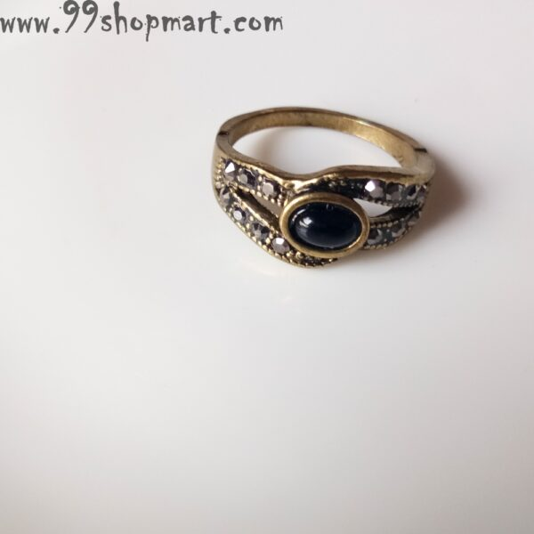 Buy antique golden ring with black oval stone and black cubic zirconia stone studded for women girls online 99shopmart 99SWR12_13
