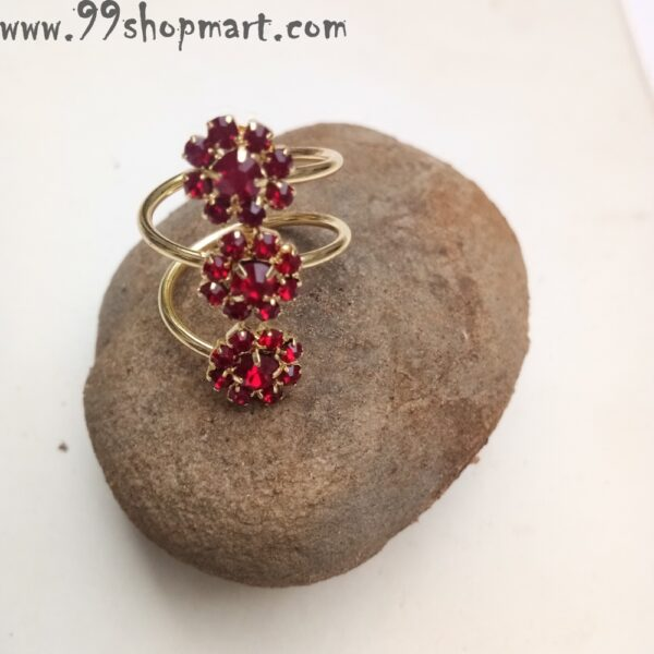 Buy golden spiral ring with red zirconia stone flower design ring for women online 99shopmart 99SWR16_03