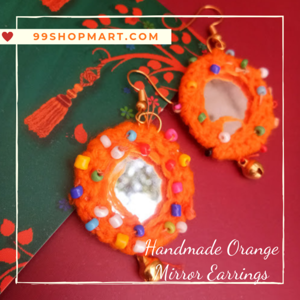 buy crochet earring round shape orange colour wool with mirror dangle drop style earring with tiny beads and ghungroo 99shopmart 99SWEC01_01