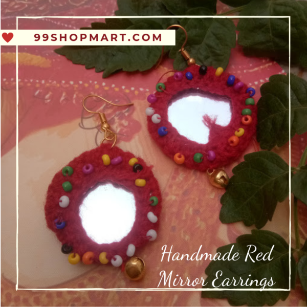 buy crochet earring round shape red colour wool with mirror dangle drop style earring with tiny beads and ghungroo 99shopmart 99SWEC01_02