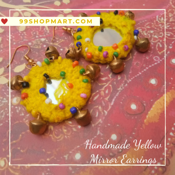 buy crochet earring round shape yellow colour wool with mirror dangle drop style earring with tiny beads and ghungroo 99shopmart 99SWEC01_03