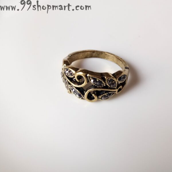 Buy curvy lines designer ring golden colour with oval black stone and other tiny zirconia studded stones online for women 99shopmart 99SWR12_14