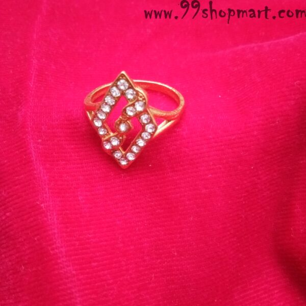 diamong shape ring for women with white stones studded 99shopmart 99SWR01_01