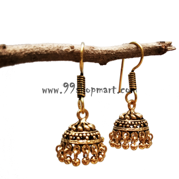 buy golden colour small size jhumka earrings for women with drop golden beads 99shopmart 99SWEJ01_05
