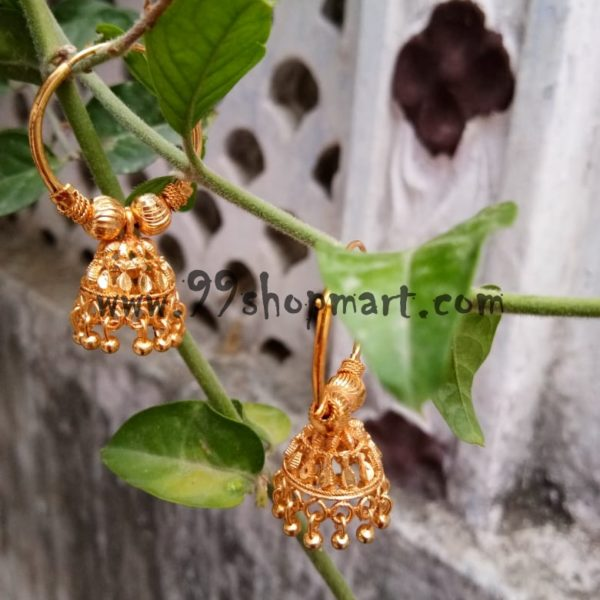 buy golden jhumka bali hoop earring online for women girls 99shopmart 99SWEJ03