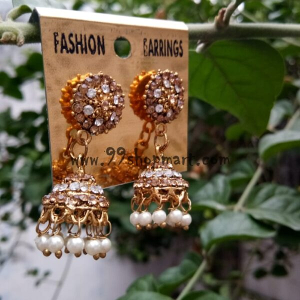 buy golden stud fancy jhumka earring online 99shopmart 99SWEJ07_01