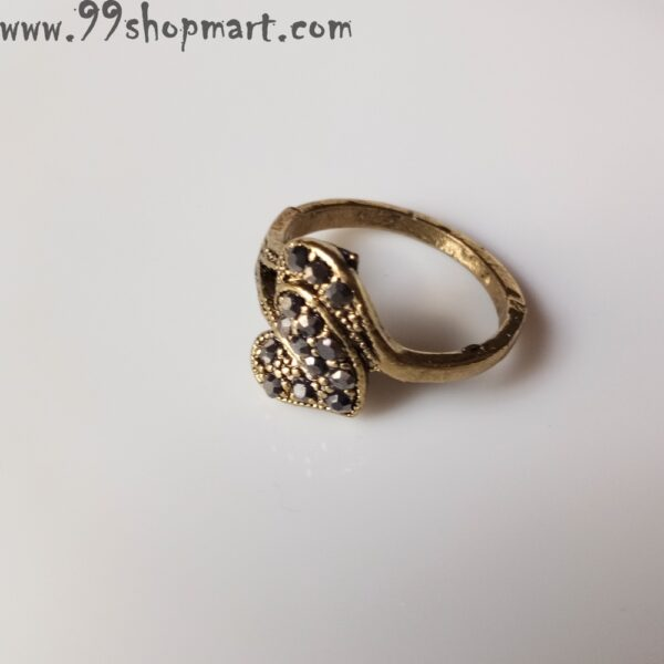 Buy heart leaf ring for women golden colour with black cubic zirconia stones studded online 99shopmart 99SWR12_11
