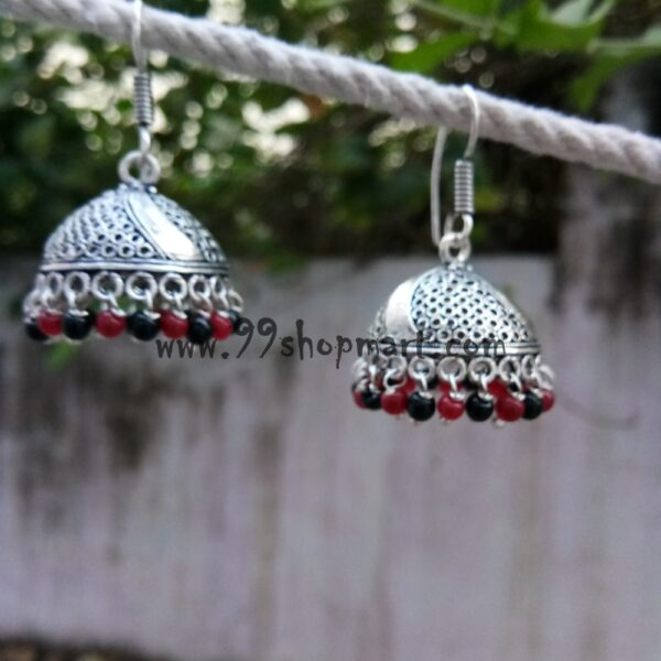 buy german silver oxidized jhumka earring medium size with jaali pattern red black drop beads drop style 99shopmart 99SWEJ04_07