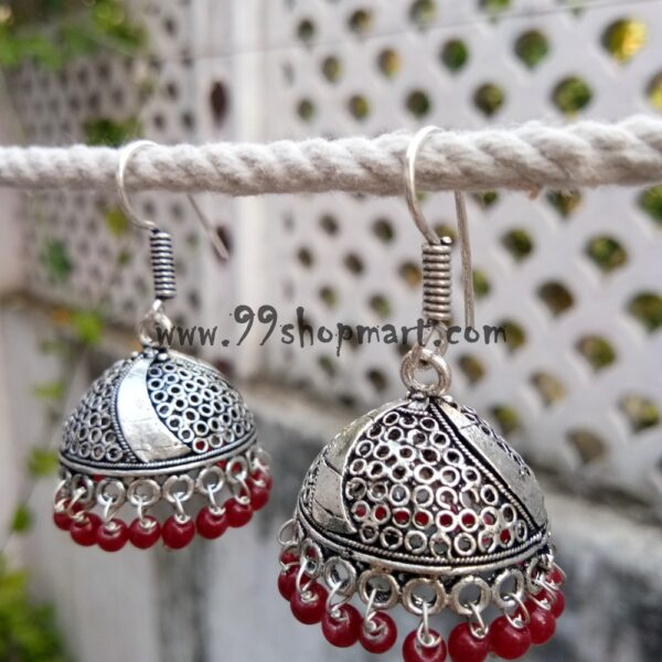 buy german silver oxidized jhumka earring medium size with jaali pattern red drop beads drop style 99shopmart 99SWEJ04_04