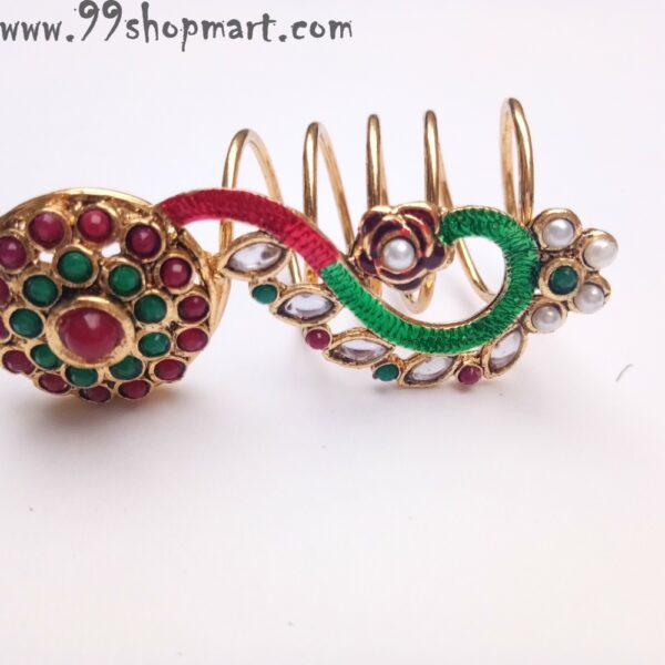 Buy long golden spiral ring partywear artificial ring red green colour kundan work whites beads maroon green beads artificial ring for women 99shopmart 99SWR17_01