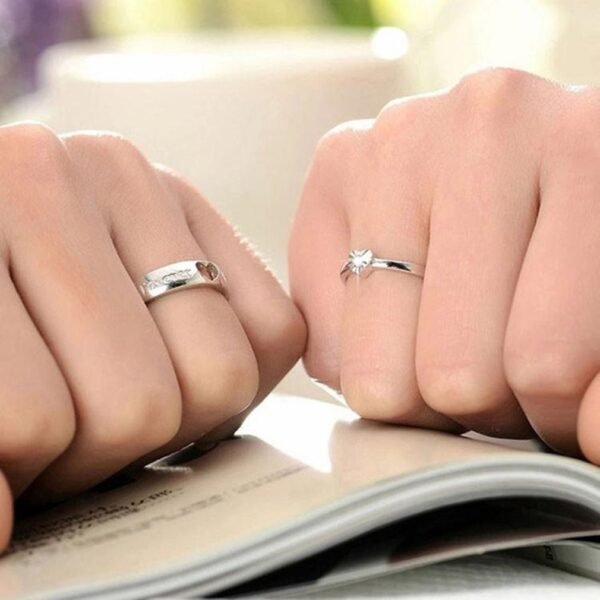 Buy couple ring pair with heart design silver colour for women men online perfect gift foreover love engraved 99shopmart 99SWR10_01